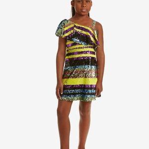 Big Girls One Shoulder Striped Sequin Dress Size 8